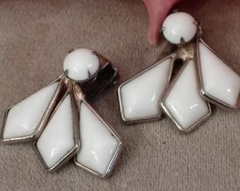 Milk Glass Clip On Earrings, Fan Style, Silver Tone, Vintage