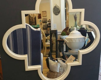 Regency Style mirror painted in Navy and cream