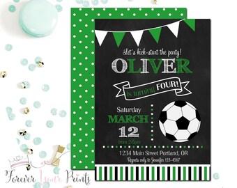 Soccer Birthday Invitation, Soccer Invitation, Soccer Invite, Soccer Party Invite, Soccer Party, Chalkboard Invitation, Boys Birthday