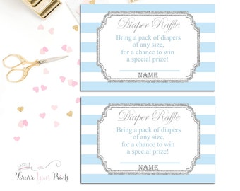 Boys Baby Shower Diaper Raffle Ticket, Baby Shower Insert Cards, Blue and Silver Diaper Raffle, Boys Baby Shower Games, Sip and See
