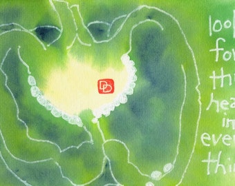 Green Pepper Heart (Original Hand-painted Etegami, Vegetable ARt)
