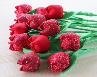 Fabric tulip bouquet Fabric flower bouquet Fabric red tulips Anniversary cotton flowers Cotton bouquet Birthday bouquet New mom red flowers