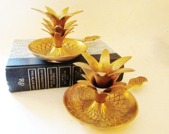 Vintage Brass Pineapple Candle Holders, Hollywood Regency Pineapple Chamber Candlesticks