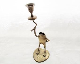 Brass Frog Candlestick, Palm Beach Decor, Brass Candleholder, Chinoiserie, Farmhouse Chic