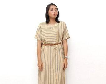 SUPER SALE ON Sale/Vintage 80s Dress/80s Striped Dress/Yellow Gray Striped Short Sleeve Tent Dress, Large