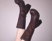 90s brown leather platform mid calf grunge boots size 6.5