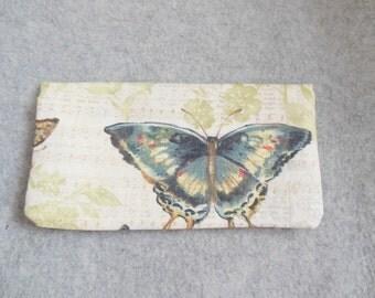 Fabric Checkbook Cover - Butterflies
