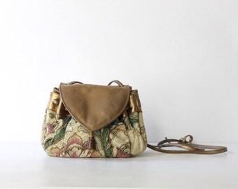 Vintage Neiman Marcus Floral Tapestry Drawstring Shoulder Bag // Brocade & Leather Crossbody Purse