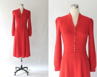 1970s St. John Collection Knit Dress // 70s Vintage Marie Gray Red Sweater Dress // Medium