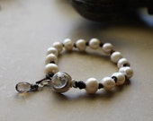 Leather and Freshwater Pearl Bracelet with Sterling Silver Swarovski Crystal Box Clasp and AAA Micro faceted Smokey Quartz Dangle