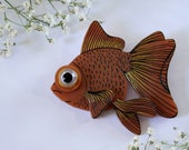 Copper Goldfish Wearable Art Pin by Winnifreds Daughter
