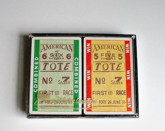 Vintage Horse Racing  Double Deck Playing Cards New Old Stock Sealed Tickets  Wagering  Am Totalisator in  Plastic Container