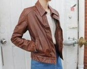 Vintage Chocolate Brown Leather Snap Jacket