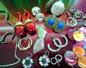 Eclectic Vintage Mix of Pierced and one clip on earrings