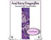 Bead Pattern Peyote(Bracelet Cuff)-Acai Berry Dragonflies