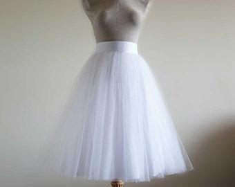 White Tulle Skirt . Wedding tulle skirt .Tea length tulle skirt. Women tulle skirt. Bridal tulle skirt.