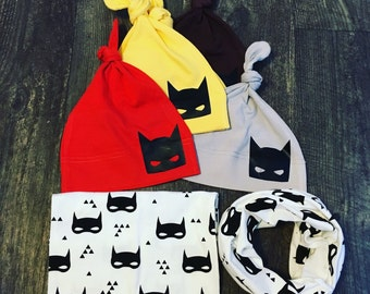 Batman knot hats and scarf
