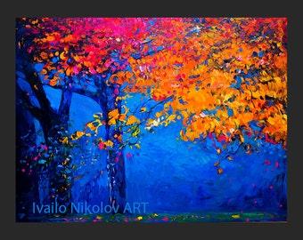 Autumn tree-Original Oil Landscape Painting on canvas-- 26 x 20 Rich Impressionistic Art by Ivailo Nikolov