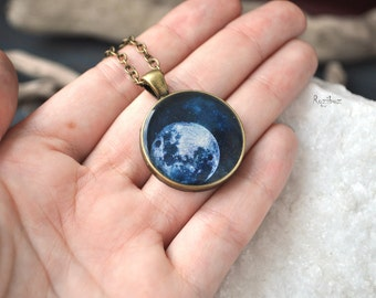 Moon space pendant - space jewelry, pendant planet solar system, long chain brass, astronomy planet galaxy vintage pendant - made to order