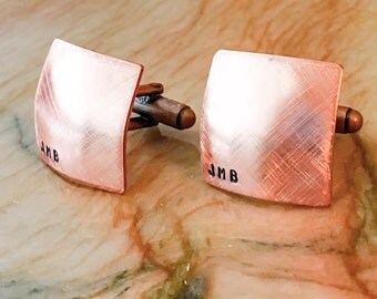 Copper Custom Hand Stamped Cufflinks - Personalized Cuff links - Your Name, Quote, Initials, Monogram - Personalized Stamped Cuff links