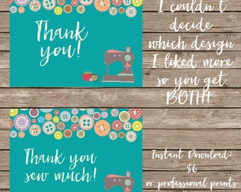 Sewing Thank you Cards - Professional Prints or DIY Printing