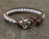 Pale Blue Fox Bracelet Semi Precious Blue Lace Agate Beaded Leather Fox Jewelry