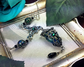 Blue Green Chrysocolla Silver Steampunk Victorian Necklace, Aqua Teal Edwardian Bridal Choker, Antiqued Filigree, Titanic Temptations 16042