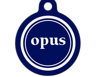 Personalized Pet ID Tag - Opus Custom Name Pet Tag, Dog Tag, Cat Tag