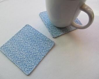 Set Of 2 Fabric Coasters/Tiny Flowers