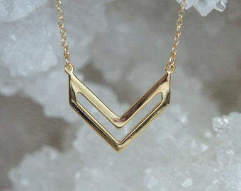 Geometric Necklace, Chevron Necklace, Gold Filled Necklace, Dainty Necklace, Birthday Gift, Birthday Gift, Christmas Gift