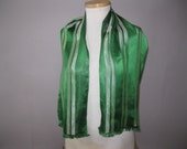 Mens 1950s Silk Scarf - Vintage 50s Green Striped Opera Ascot Scarf