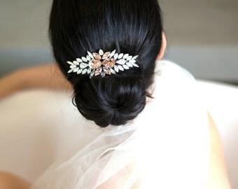 Bridal barrette,Swarovski Hair Comb,Rhinestone barrette, Bridal Hair Accessories, Blush barrette,Bridal Silver Hair barrette, Bridal Jewelry