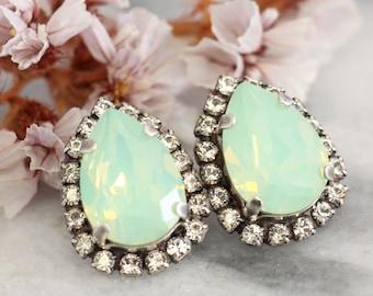 Mint Earrings,Mint Opal Earrings,Mint Stud Earrings,Bridal Swarovski Earrings,Bridesmaids Earrings,Oxidized Silver Earrings,Bridal Earrings