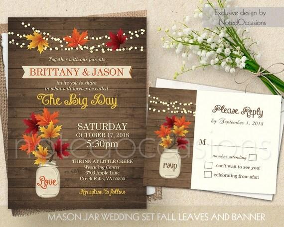Fall Wedding Invitations Rustic Mason Jar by