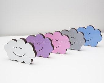 Custom cloud cute wooden nursery shelf decoration - purple freestanding sleepy cloud