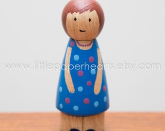 Wooden peg doll girl hand painted - cute girl doll in blue dress with spots dolls house childs toy