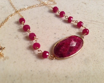 Ruby Necklace - July Birthstone - Red Gemstone Jewelry - Pendant - Gold - Gemstone Jewellery - Beaded - Fashion