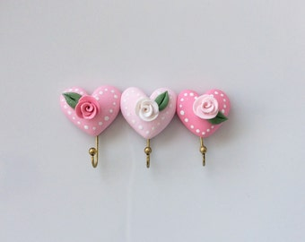 Miniature pink heart coat hooks with roses for 1:12 scale dollhouse handmade from polymer clay
