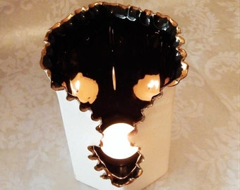 Very Cool 80s MODERN Vintage Candle Holder~White Black Gold~ Torn Ripped Side~Art Tin Vase