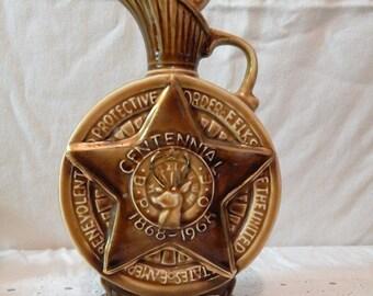 Very Cool Vintage~BPOE Centennial~1968~Jim Beam Bourbon~Commemorative Decanter~Tax Stamps