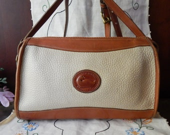 Fabulous Vintage Authentic DOONEY & BOURKE--Rich Cream AWL --Pebbled Leather - British Tan accents