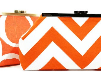 Orange Bridesmaid Clutches Wedding Clutch Bridesmaids Gifts Bridal Party Clutches Custom Personalized Gifts