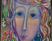 Fine Arts Israeli Art Woman Painting  Colorful Acrylic Painting on Wood Small Painting Face of a Woman One of a Kind Home Decor Wall Hanging