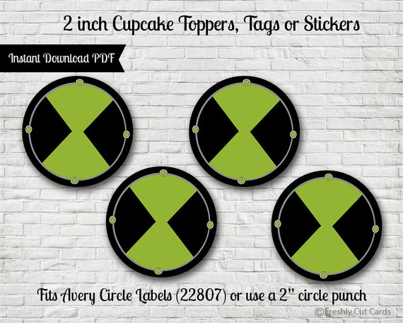"Omnitrix 2"" Treat Toppers or Labels - Printable"