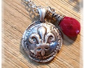 Ruby Gemstone  and Silver Wax Seal Fleur de Lis Necklace ~  Wax Seal Jewelry . July Birthstone Gift