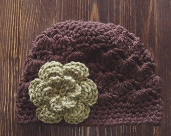 Girls Hat, Brown and Green Girl Hat, Newborn Girl Hat, Crochet Baby Hat, Crochet Girls Hat, Baby Girl Hat, Baby Hat for Girls