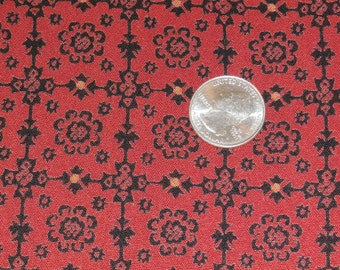 "Vintage Red and Black Rayon Dress Fabric  54"" x 36"" - 5 Yards Available"