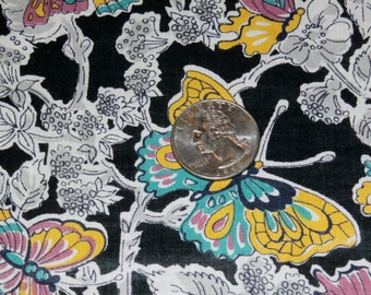 "Vintage 1940s Fabric Remnants, Colorful Butterflies on Deep Black Background 35"" x 17 1/2"" and 35"" x 9 1/2"""