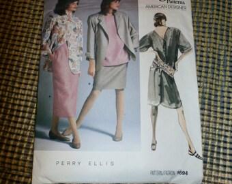 Vintage 1986 Vogue American Designer Perry Ellis Dress, Jacket, Top and Skirt Pattern 1694, Sz  8, Most Uncut