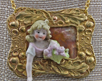 Handmade Doll Emerging From a Frame Statement Necklace Art Jewelry OOAK 24 inch Length Focal is 2x3 Inches Oscarcrow